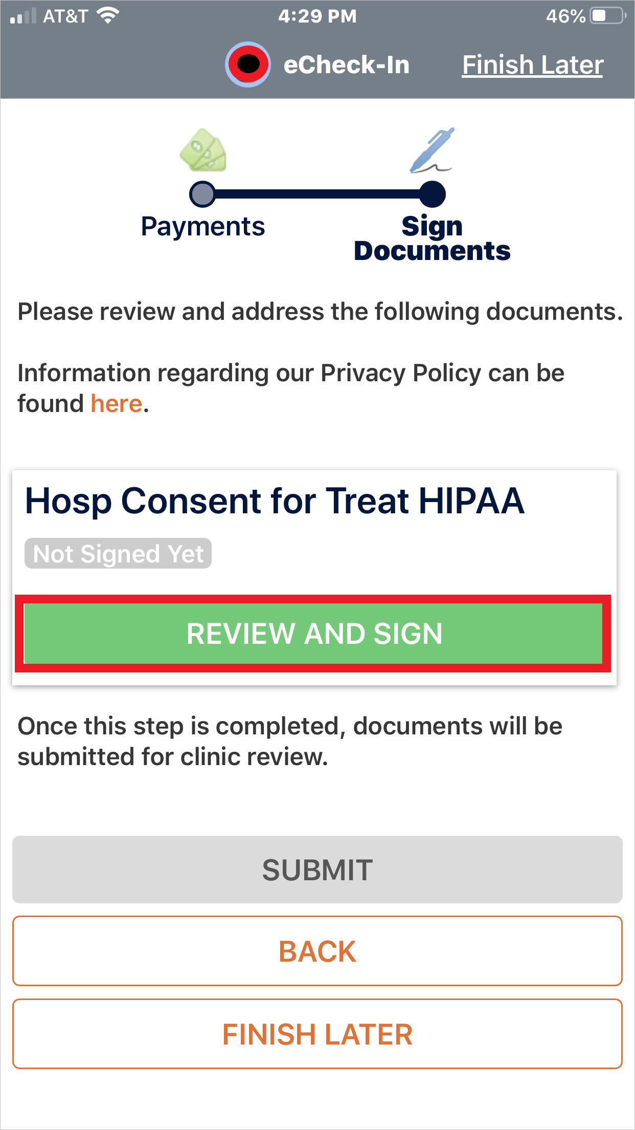 Review and Sign HIPAA Documents screenshot