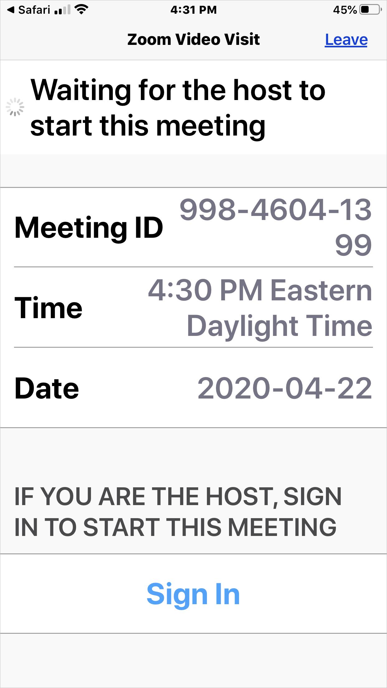 Waiting for Host to Start Meeting screenshot