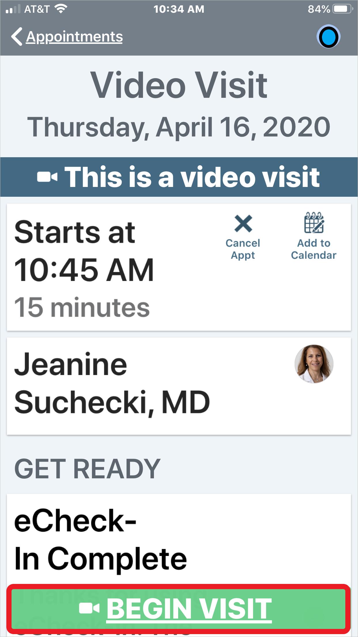 Begin Video Visit screenshot