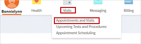 How to Find Appointments and Visits screenshot