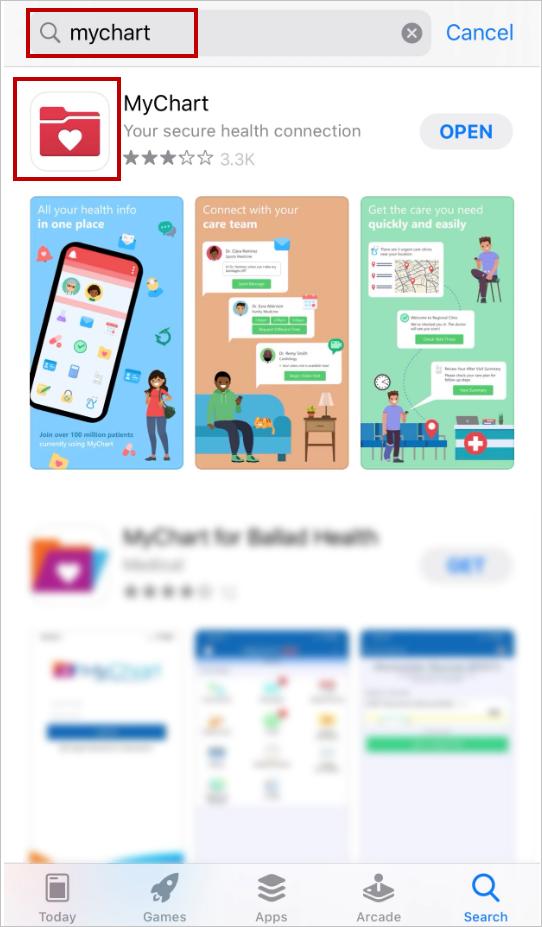 MyChart Mobile App screenshot
