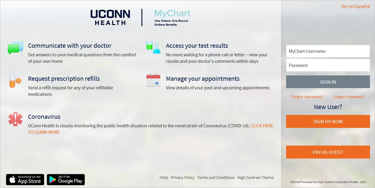 MyChart homepage screenshot
