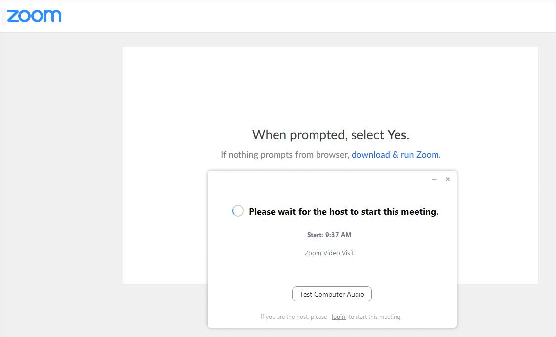 Start Zoom Meeting screenshot