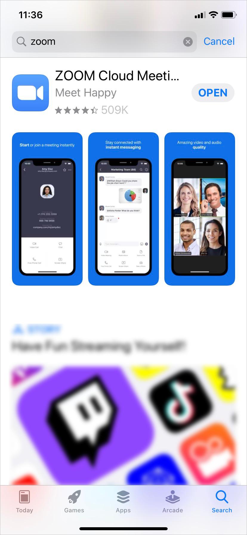 Zoom App screenshot