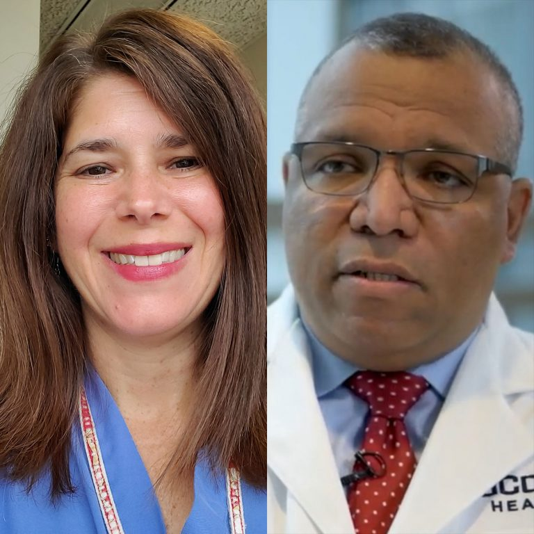 Karen Nelson, Dr. Jaime Imitola split portrait