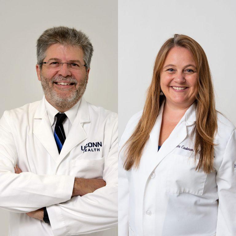 Dr. Denis Lafreniere and Starr Cookman white coat portraits