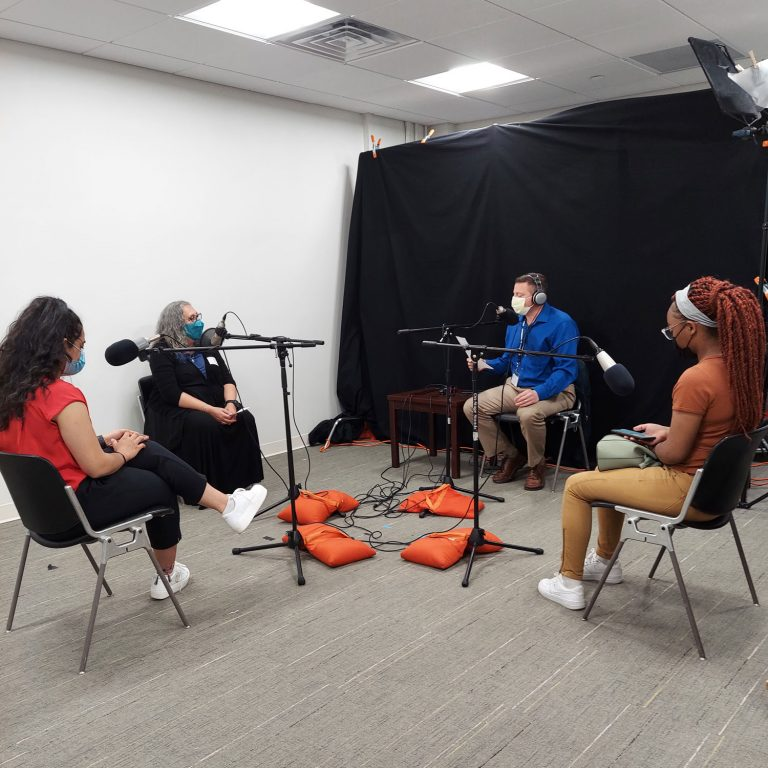 Urban Health/AHEC Scholars recording podcast in studio